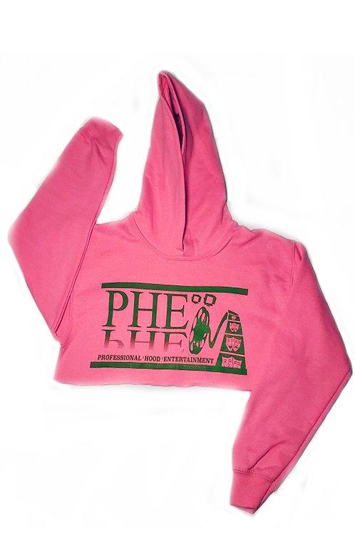 PHE Women's Crop Top Hoodie - Green Logo