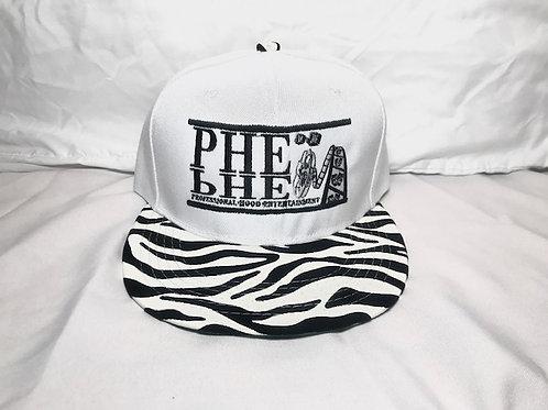 PHE Snap Back Hat Zebra Print Brim