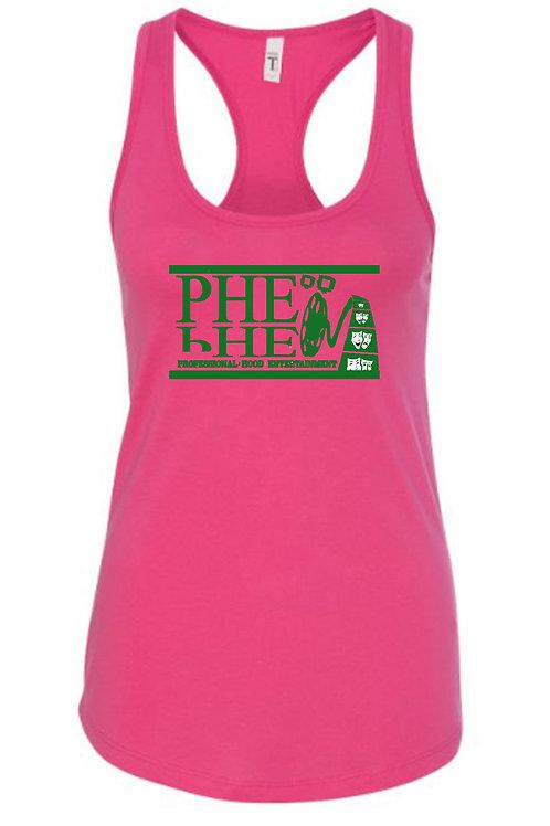 PHE Women's Spaghetti Strap Tank Top- Green Logo