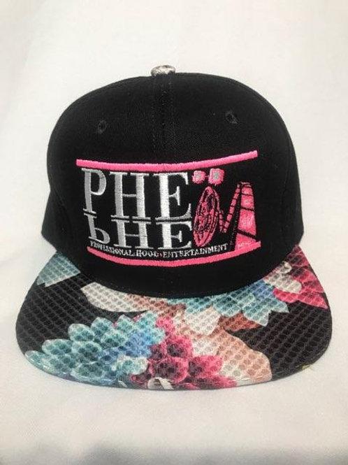 PHE Snap Back Hat- Pink/White Logo Floral Brim 2