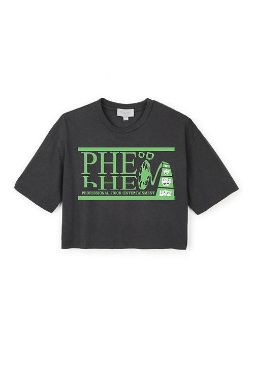 PHE Women's Crop Top Tee- Green Logo