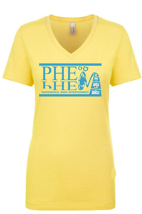 PHE Women's Vneck T-Shirts- Teal Logo