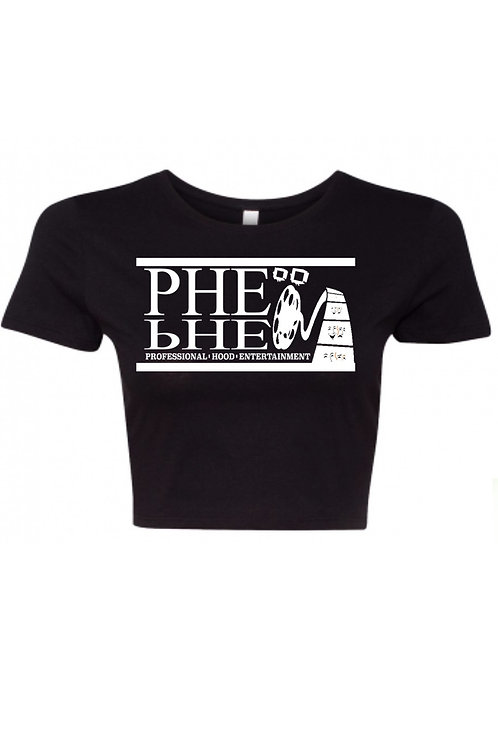 PHE Women's Crop Top Tee- White Logo