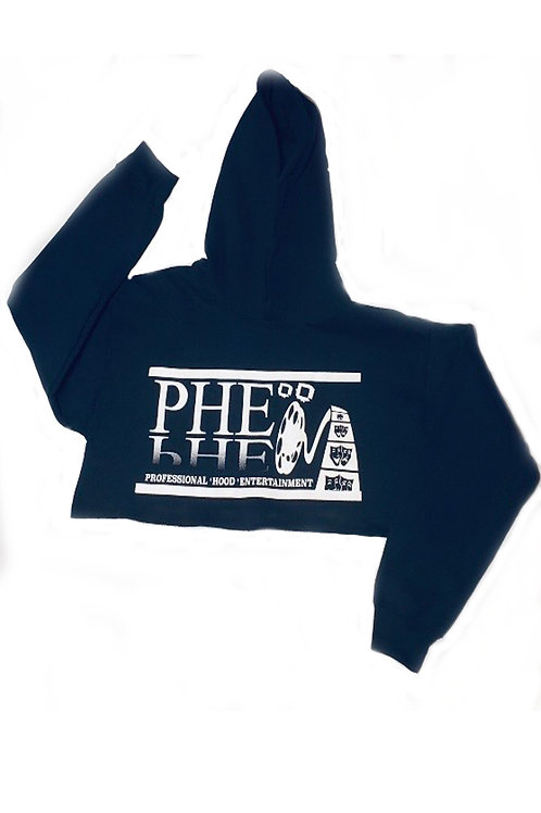 PHE Women's Crop Top Hoodie - White Logo