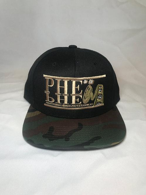 PHE Snap Back Hat Black Camouflage Rim - Tan Logo