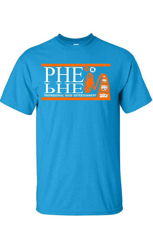 PHE NFL,NBA, MLB Color Scheme Men's Crew Neck T-shirt- Orange/White Logo
