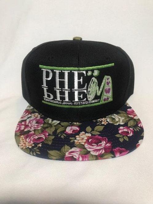 PHE Snap Back Hat- Green/White Logo Floral Brim 4