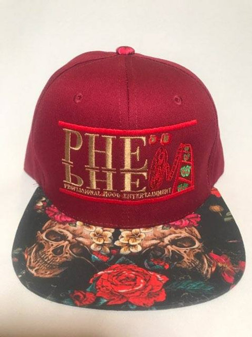 PHE Snap Back Hat- Red/Gold Logo Floral Skulls Brim