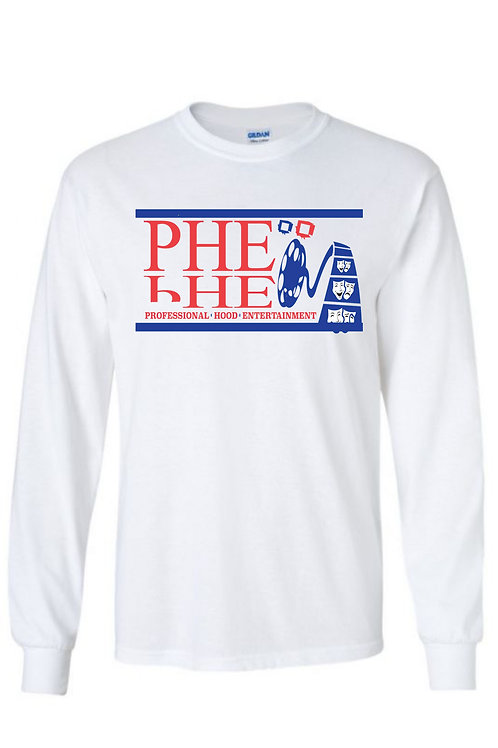 PHE Men's Crew Neck Long Sleeve T-shirt- Blue/Red Logo