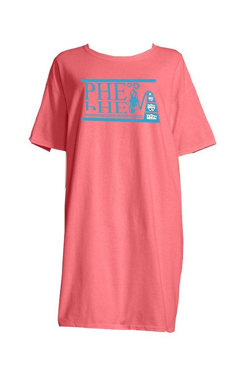 PHE Women Lounge/Night Gown Shirt- Teal Logo