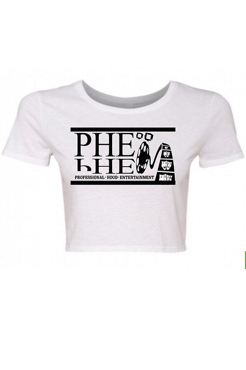 PHE Women's Crop Top Tee- Black Logo