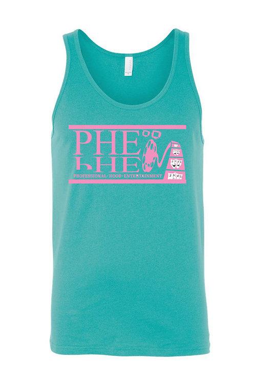 PHE Unisex Teal Tank Top- Pink Logo