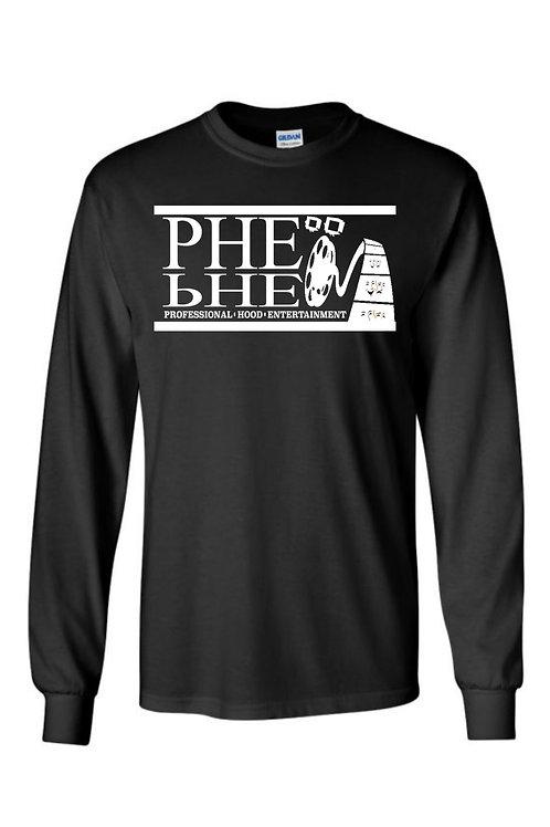 PHE Men's Crew Neck Long Sleeve T-shirt- White Logo