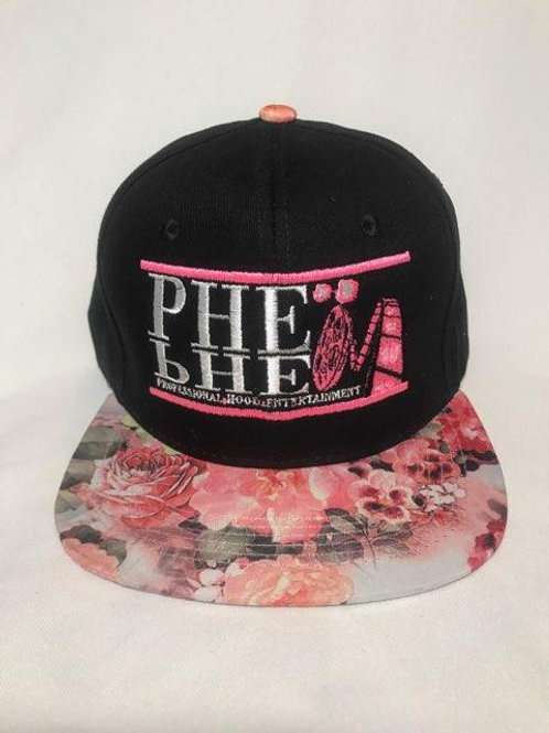 PHE Snap Back Hat- Pink/White Logo Light Floral Brim 3