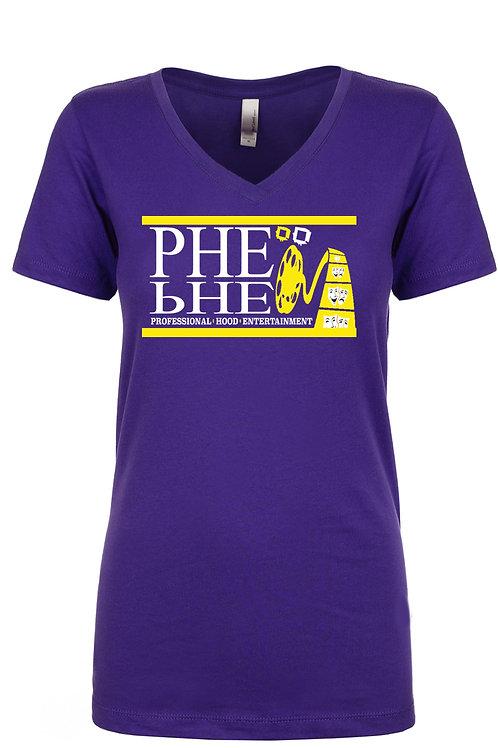 PHE Women's Vneck T-shirt- Yellow/White Logo
