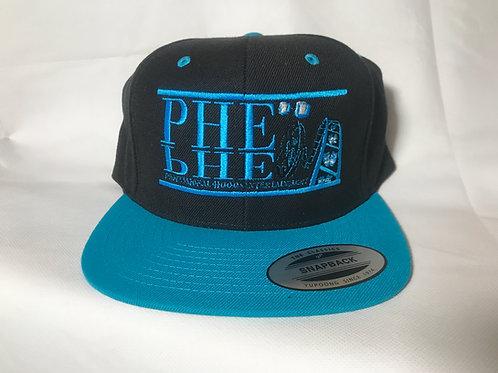 PHE Snap Back Hat- Light Blue Logo