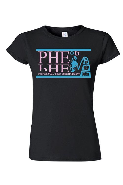 PHE Women's Crew Neck T-shirt- Teal/Pink Logo