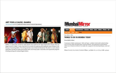Press artciles by Mumbai Mirror and Rita Bhimani