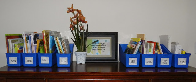 These book bins were purchased from Lakeshore Learning Materials