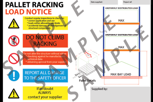 Pallet racking load notice (English) - A3 size