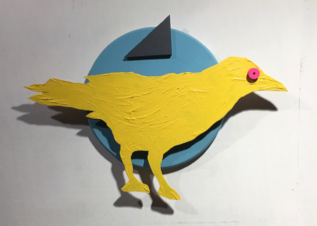 Crow With the Raspberry Eye  28 x 20