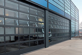 The A40 overhead door is constructed from horizontal maintenance-free aluminium sections featuring finger safe protection.