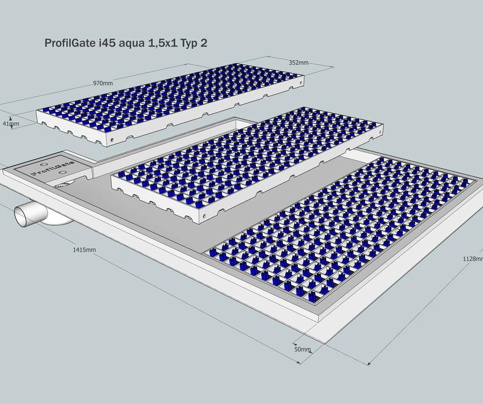 Exploded view – ProfilGate® i45 aqua 1,5x1 TYP 2