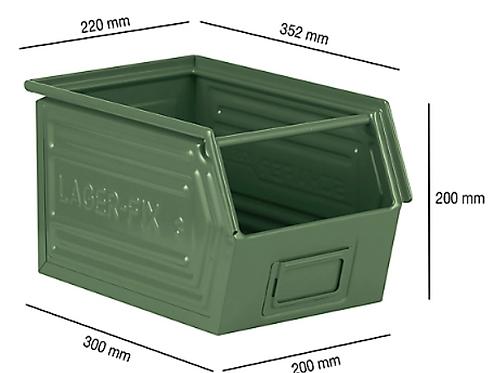 Open fronted storage bin with support rod SSI Schäfer LF 14 / 7-3, steel - Green