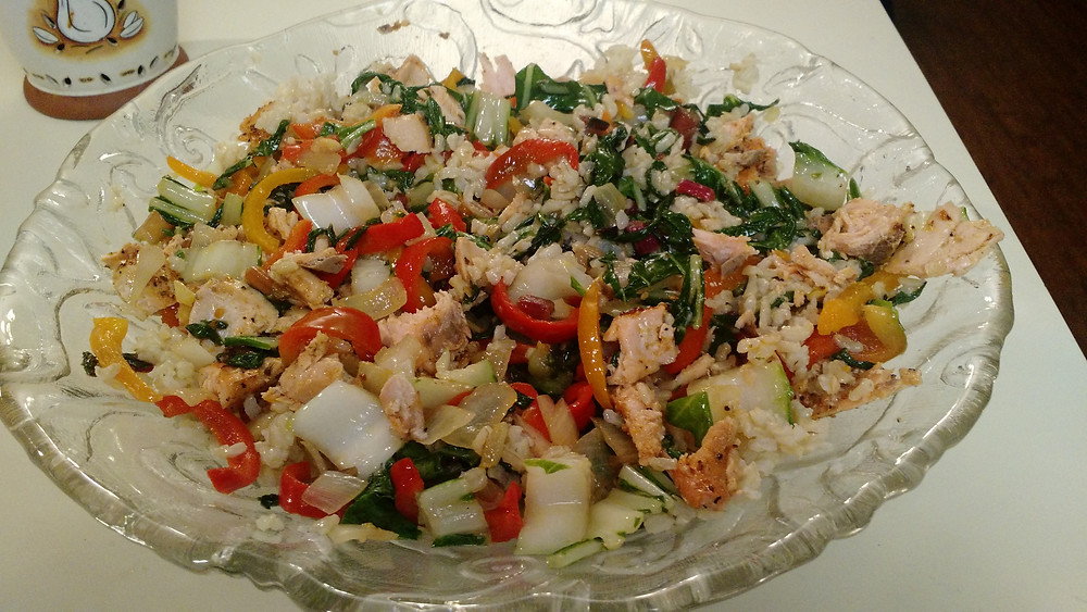 Salmon with rice, vegetables