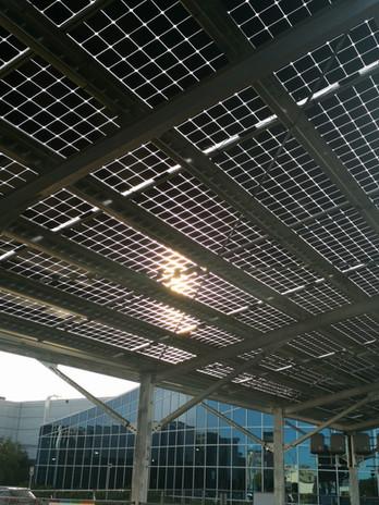 Sun on solar panels
