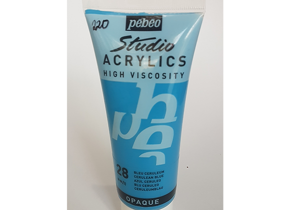 28 Pebeo Studio Acrylics High Viscosity Cerulean Blue Opaque 100ml