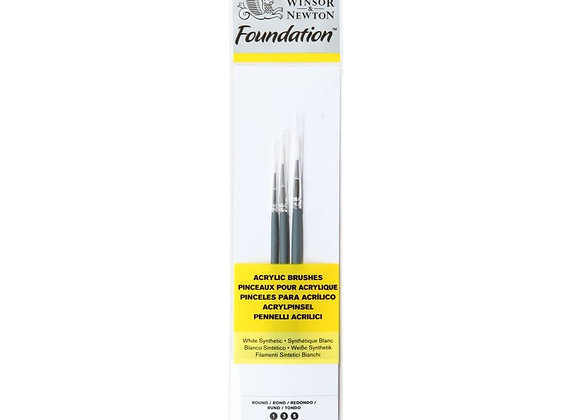 Winsor & Newton White Synthetic Acrylic Round Brushes Set