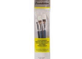 Winsor & Newton White Synthetic Acrylic Flat Brushes Set (4,10,14)