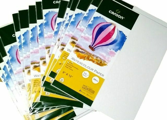 Canson Watercolor Paper 9x12 - 10 sheets - 200gsm