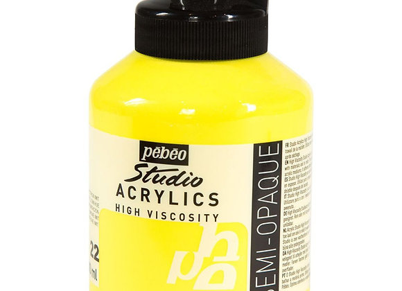 22 Pebeo Lemon Cadmium Yellow Acrylic Jar 500ml