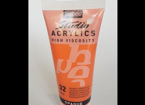 32 Pebeo Studio Acrylics High Viscosity Cadmium Orange Hue Opaque 100ml