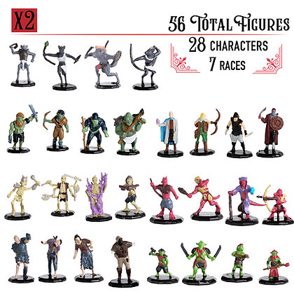 Painted Variety Pack DnD Miniatures 56pk