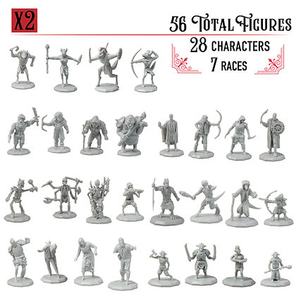 Unpainted Variety Pack DnD Miniatures 56pk