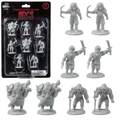 Unpainted Orcs DnD Miniatures 8pk