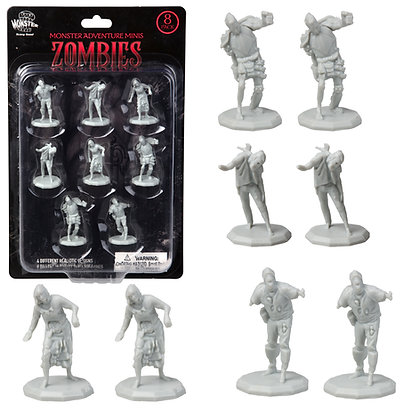 Unpainted Zombies DnD Miniatures 8pk
