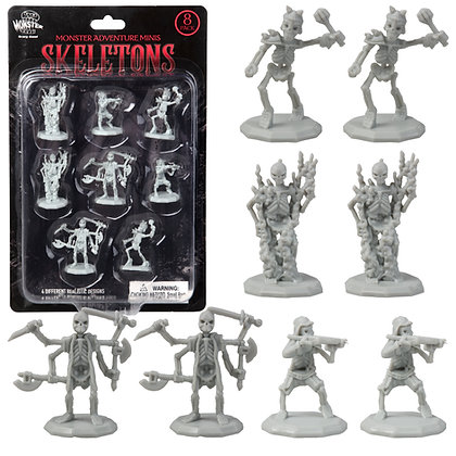 Unpainted Skeletons DnD Miniatures 8pk