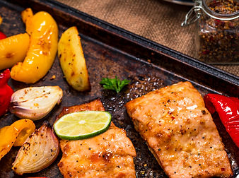 Sheet Pan Baked Pink Salmon, Potatoes an