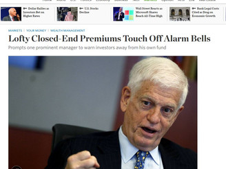 WSJ: Lofty Closed-End Premiums Touch Off Alarm Bells