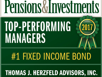 Pensions & Investments: Herzfeld Top Performing Manager Q2/2018