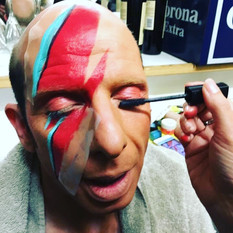 Being made up for the Beige/Bowie show