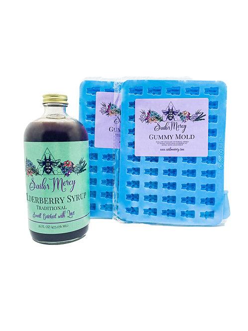 16oz Traditional Elderberry Syrup w/Set of 2 Gummy Molds