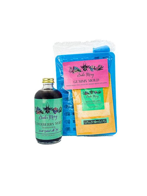 8oz Traditional Elderberry Syrup w/Gummy Mold and Gelatin