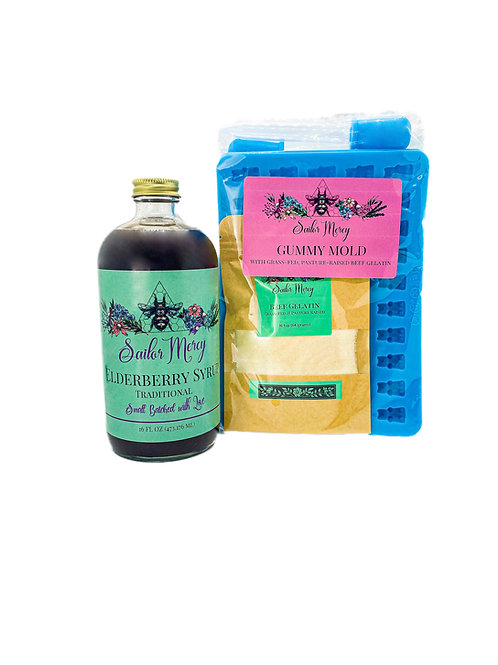 16oz Traditional Elderberry Syrup and Set of 2 Gummy Molds w/Gelatin