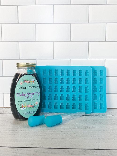 Traditional Elderberry Syrup w/SET OF 2 DIY Gummy Molds