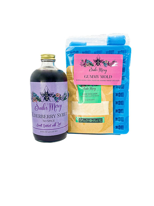 16oz No Spice Elderberry Syrup and Set of 2 Gummy Molds w/Gelatin
